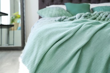 Warm Knitted Mint Blanket On B...