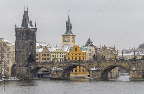 Plakat Praga w okresie zimowym
