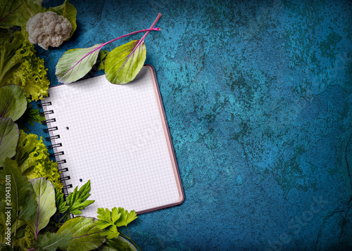 Open recipe book with fresh herbs on grungy blue background