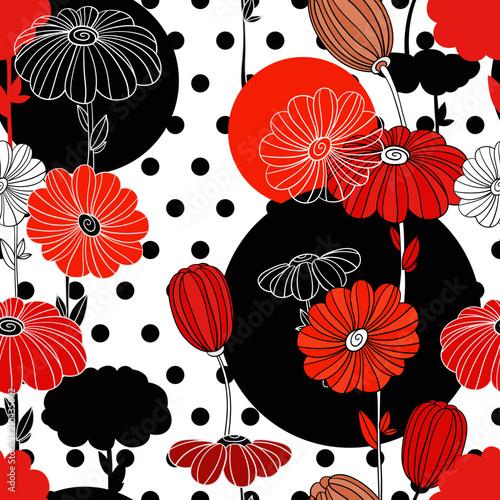 Kolaż z kwiatowymi elementami. Bezszwowy wzór. Dekoracyjny obraz do druku i tkaniny.