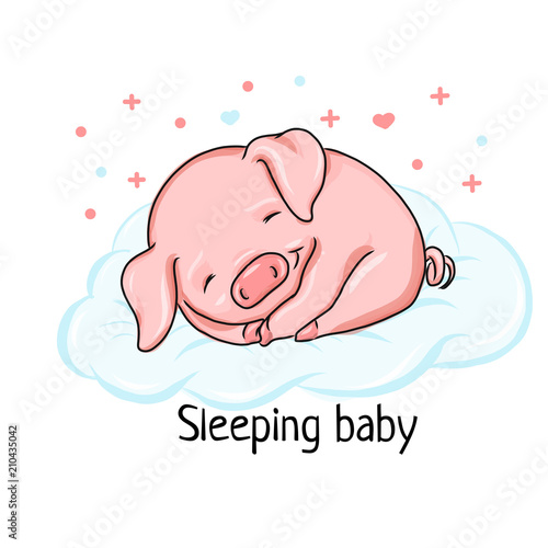 Sleeping Baby Pig Cartoon Illustration For Poster Banner Logo Icon Promo Sleep Expert Or Children Book Or Kid Club Pajama Party Piglet For Christmas Card Symbol Of 2019 Buy This Stock