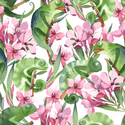 bezszwowy-wzor-prosci-zieleni-kameleony-siedzi-na-galaz-i-rozowym-zwrotniku-kwitnie-na-bialym-tle