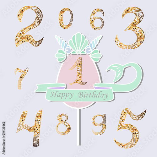 Vector Set With Number One Mermaid Tail Sea Shell Crown Topper Or Decoration For Style Party Baby Birthday Invitation Greeting Card