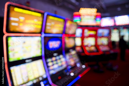 Fotomural Blurred Slot machines in a casino