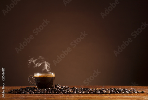 Wall Murals Cafe Coffee on a brown background with copy space