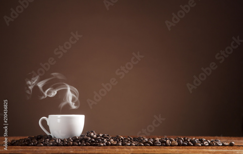 Foto op Plexiglas Cafe Coffee on a brown background with copy space