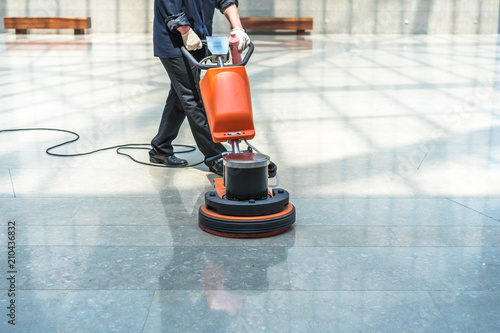 Fotografie, Tablou cleaning floor with machine