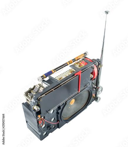 Fotografija  Transistor portable radio receiver inside