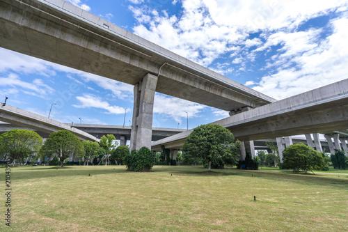 overpass under sky Canvas Print