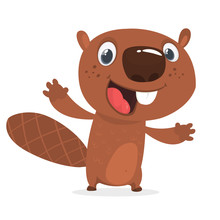 Excited Cartoon Beaver Waving ...