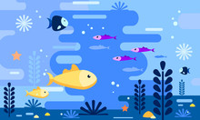 Sea Life In Flat Style. Underwater World Background. Gold Fish With Deferent Fishes. Vector Illustration Design.