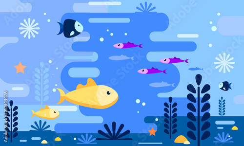 Carta da parati Sea life in flat style