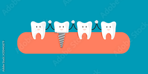 Fun concept with Filling dental implant with crown Wallpaper Mural
