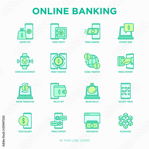 Fotografía  Online banking thin line icons set: deposit app, money safety, internet bank, contactless payment, credit card, online transaction, check balance, mobile support, blockchain