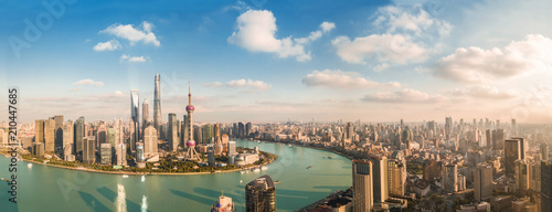 Canvas Print Panorama view of Shanghai city.