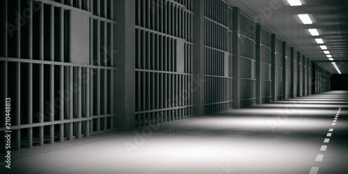 Photo  Prison interior. Jail cells, dark background. 3d illustration