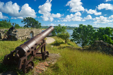 Old Cannon In The Fort Is Look...