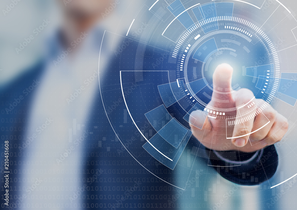 Fototapety, obrazy: Technology abstract background with person hand touching complex circular diagram on virtual screen with copy-space, innovation, network, big data and internet concept