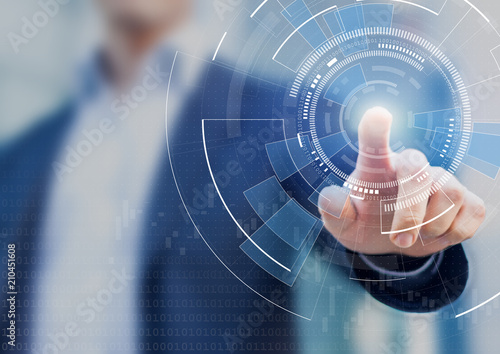 Fototapeta Technology abstract background with person hand touching complex circular diagram on virtual screen with copy-space, innovation, network, big data and internet concept obraz