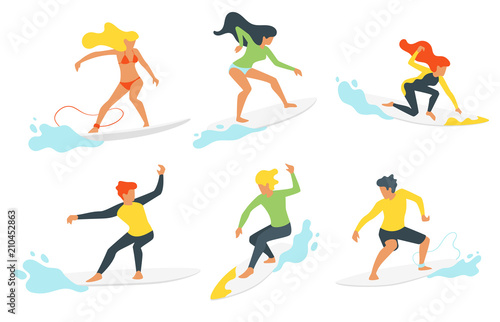 Canvas Print surfer silhouette with wave