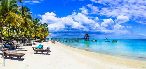 Holidays in tropical paradise - beautiful beaches of Mauritius island
