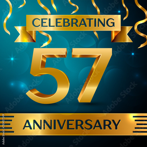Photo  Realistic Fifty seven Years Anniversary Celebration Design