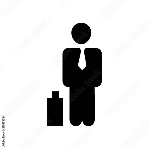 Businessman with suitcase icon vector icon Canvas Print