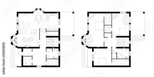 Obraz Architectural plan of a two-storey manor house with a terrace. The layout of an individual two-storey house with three bedrooms, kitchen, living room, two bathrooms, dressing rooms and pantries. - fototapety do salonu