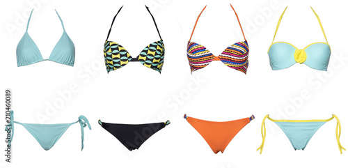 Obraz set of swimsuits or bikini isolated on white background. New summer fashion. Colorfull and sexy, Trendy bikini - fototapety do salonu