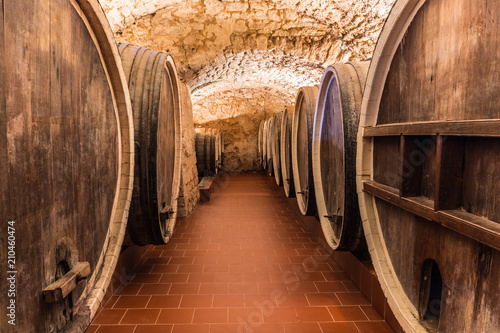 Old Cellar With Big Wooden Wine Barrels Buy This Stock Photo And