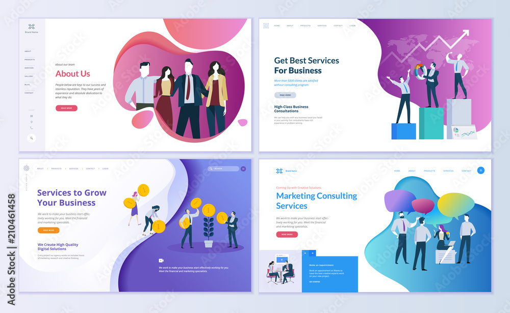 Fototapety, obrazy: Set of web page design templates for business, finance and marketing. Modern vector illustration concepts for website and mobile website development. Easy to edit and customize.