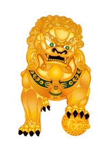 Male Foo Fu Lion Dog With Worl...