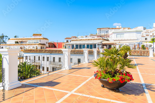 MIJAS TOWN, SPAIN - MAY 9, 2018: Terrace with white houses in picturesque village of Mijas, Andalusia Wallpaper Mural
