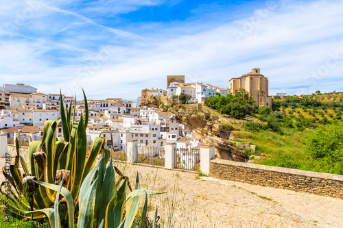 View of beautiful white village with church on hill, Sentinel de las Bodegas, An Wallpaper Mural