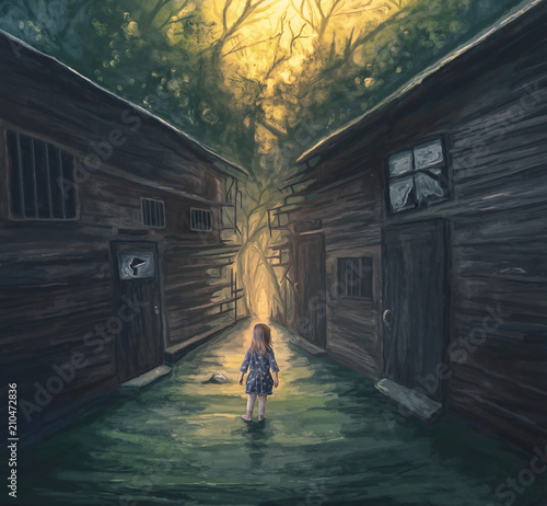 Little girl and pathway Wall mural