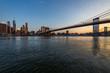 Manhattan skyline, Brooklyn bridge sunset beautiful landscape