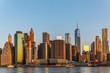 Manhattan skyline, sunset beautiful landscape