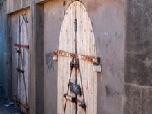 Wooden, Graffiti Covered Door ...