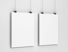 Blank Poster Hanging On A Wall Mockup