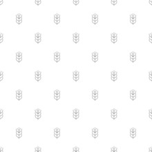 Wheat Background From Line Icon. Linear Vector Pattern.