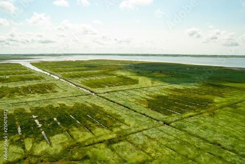 Valokuva  Weite an der Nordseeküste, Salzwiesen, Entwässerungsgräben, Küste, Schleswig-Hol