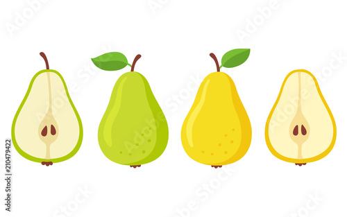 Leinwand Poster Cartoon pears set