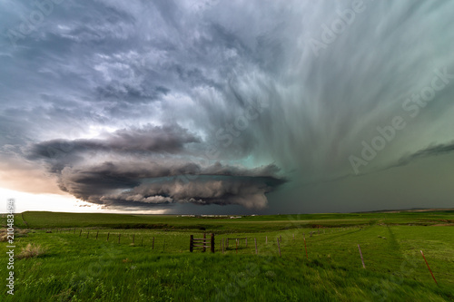 Supercell thunderstorm with dramatic clouds near Ryegate, Montana Wallpaper Mural