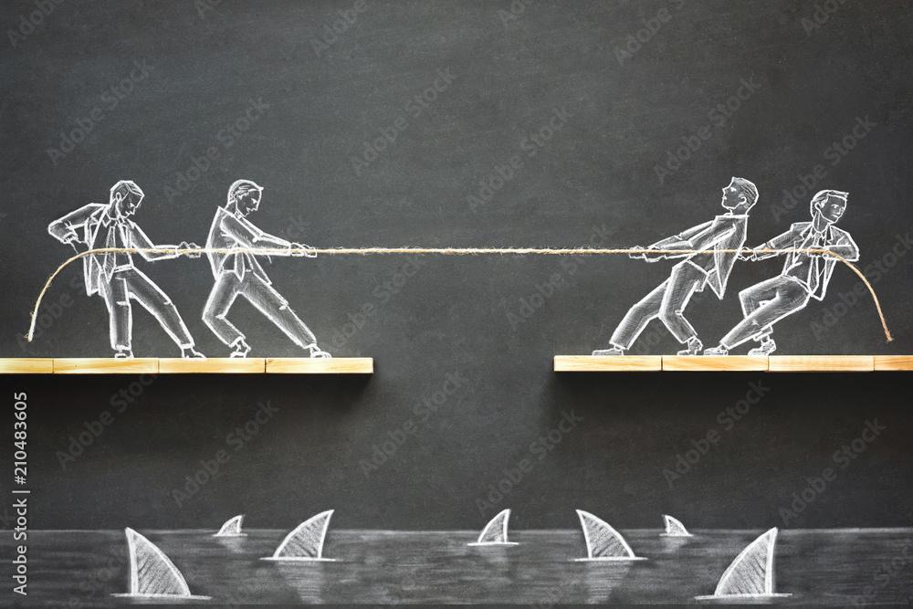Fototapeta Business Challenge Concept with Hand Drawn Chalk Illustrations on Blackboard