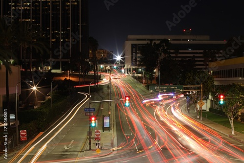 Foto op Aluminium Nacht snelweg Los Angeles Traffic