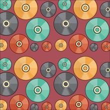 Background Of Vinyls Pattern, Colorful Design. Vector Illustration