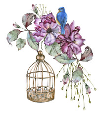Fototapeta Róże Rose with leaves, a bird and a cage. isolated on white background.