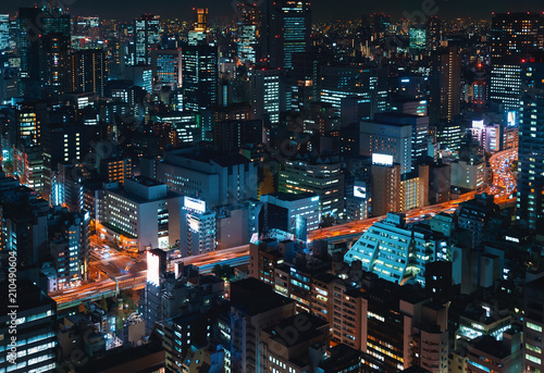 Aerial view of a big highway intersection in Tokyo, Japan