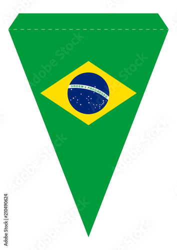 graphic relating to Brazil Flag Printable named Brazil Occasion Banner Triangle Pennant Printable Template