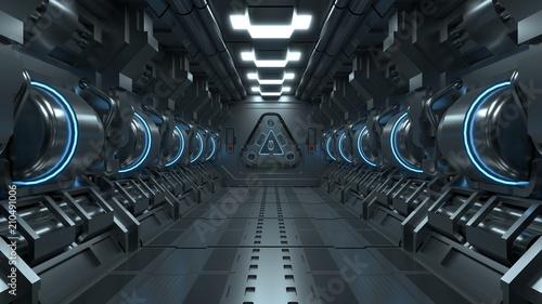 Blue light corridors interior design , sci-fi spaceship Future concept Canvas Print
